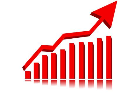 earnings: Graph zeigt Anstieg in Gewinn oder den Gewinn Illustration