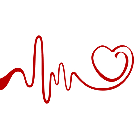 heart beat: Heart and ecg from red ribbon