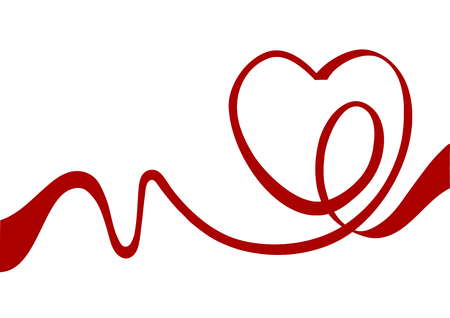 Heart from red ribbon  Illustration