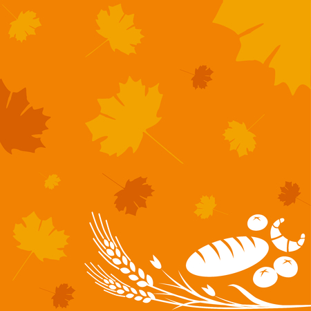 wheaten: Autumn background with bread, rolls and wheat sign Illustration