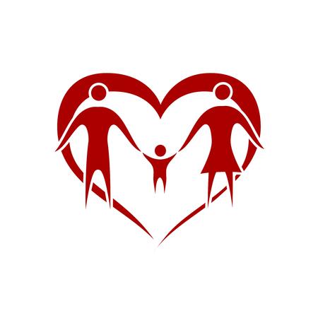 genitore figlio: vettore di famiglia con il simbolo del cuore Vettoriali