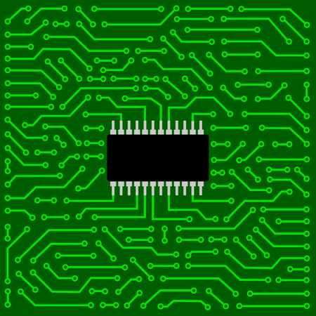 Close up of computer circuit board Vector