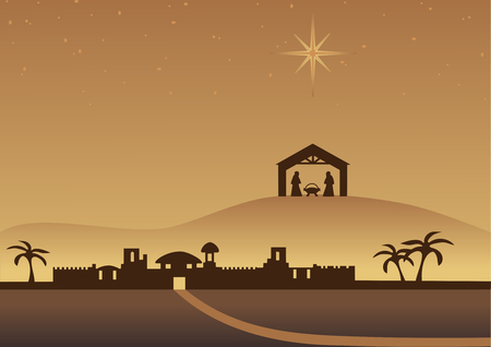 creche: Fondo de Navidad de Bethlehem  Vectores