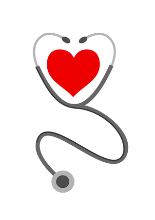 taking pulse: Stethoscope and heart on white Illustration