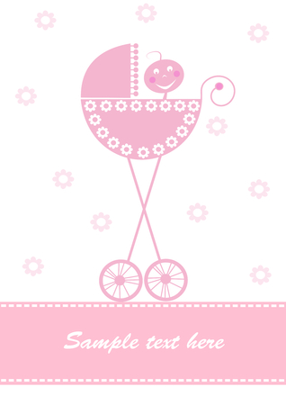 Pink baby card Vector