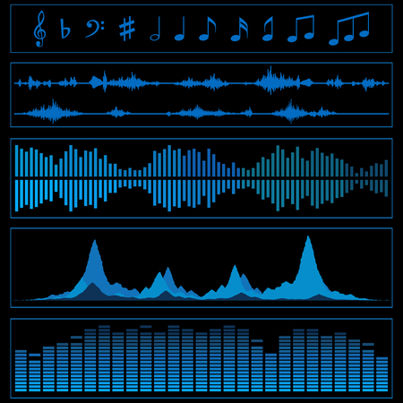 Notes and sound waves. Music background. Vector