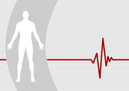 electrocardiograma: Macho sobre fondo de pulso