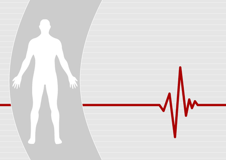 electrocardiogram: Male on pulse background Illustration
