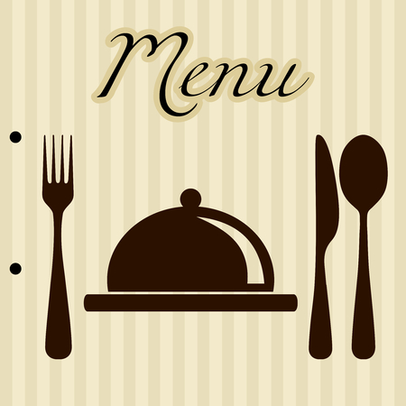 vintage cutlery: Restaurant menu background Illustration
