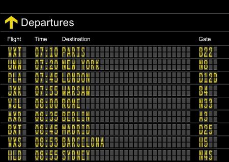 Placa de salidas del aeropuerto  Ilustración de vector