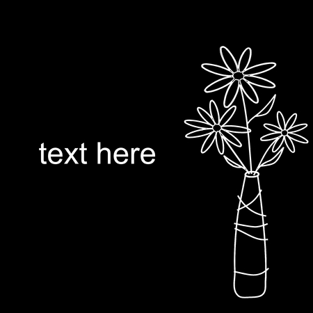 A vase of simple flowers on black background Vector