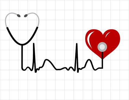 latidos del coraz�n: Coraz�n y un estetoscopio m�dico con el s�mbolo de latido (impulso) Vectores