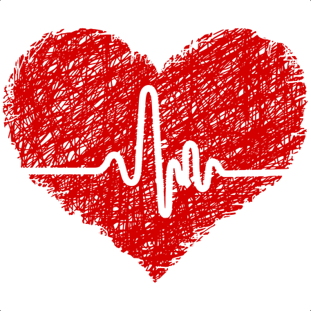 batida de cora��o: heart with cardiogram