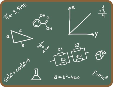 Illustration Set of school symbols on chalkboard Vector