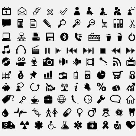 Hundred vector icons. Communication, media, business, medical and office.