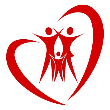 abstract heart family   Ilustração