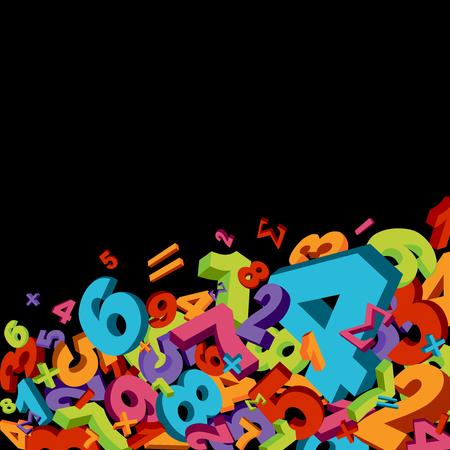 rekensommen: Abstracte wiskunde achtergrond met kleurrijke nummers Stock Illustratie