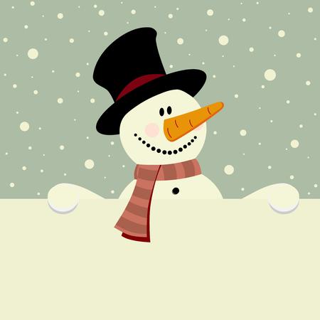 xmas illustration of happy snowman holding blank paper Stock Vector - 8251397