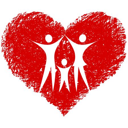 familia con mano corazón dibujado