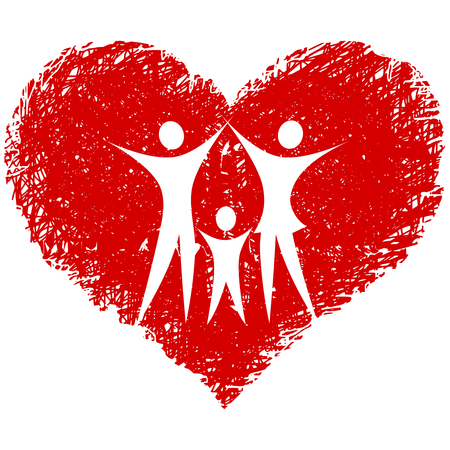 Famille avec coeur dessiné à la main Banque d'images - 8251400
