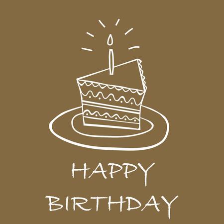 birthday cake card Ilustração
