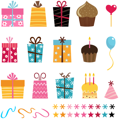 gift set and other birthday elements Иллюстрация