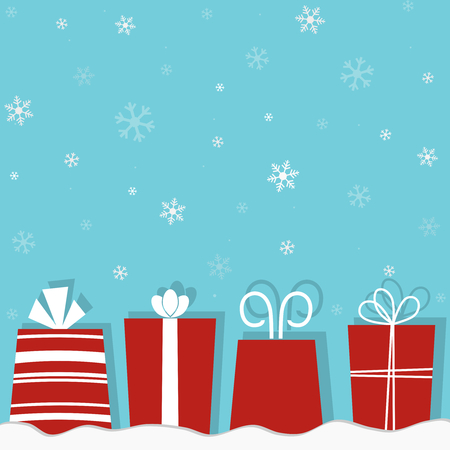 Christmas gifts on a snow background Stock Vector - 8407186