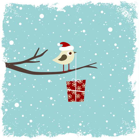 Winter card with bird and gift box Stock Vector - 8407191