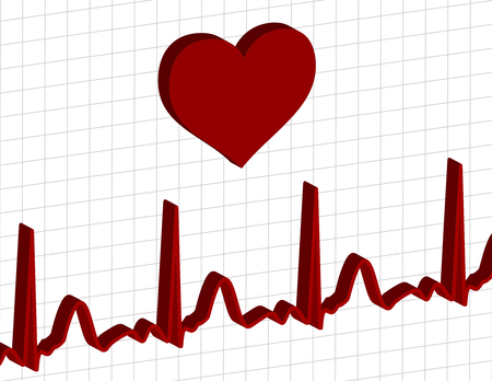 heart above an electrocardiogram graph Vector