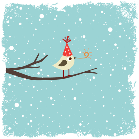bird and tree: Christmas, Birthday or New Year postcard with bird