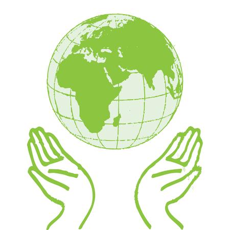 손을 잡고 녹색 지구 일러스트