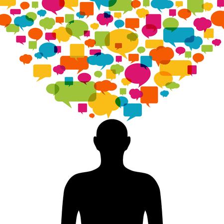 burbujas de pensamiento: Pensando la silueta del hombre con el colorido pensamiento de burbujas Vectores