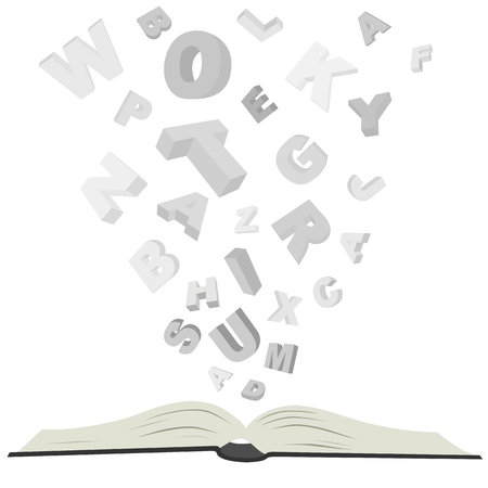 writing book: open book with letters