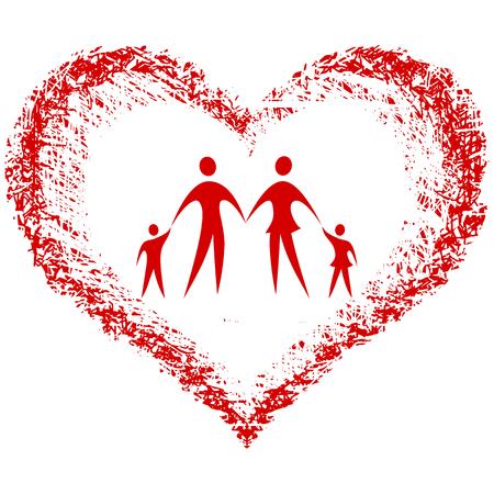familie vector met de hand getekende hart