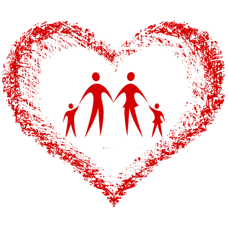family vector with hand drawn heart Imagens - 8898955