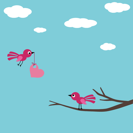 love tree: Bird love card Illustration