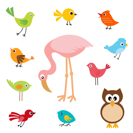 Set of cute birds Illustration