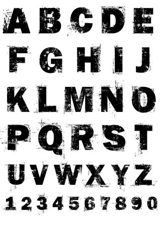 letras negras: N�meros y alfabeto completo de grunge