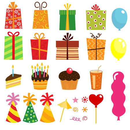 gift set and other birthday elements Stock Vector - 8984484