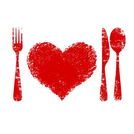 coeur sant�: Un concept de sant� cardiaque - plaque de coeur rouge, couteau, cuill�re et fourche