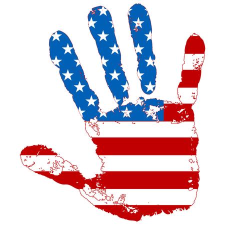 추상 손을 미국 국기