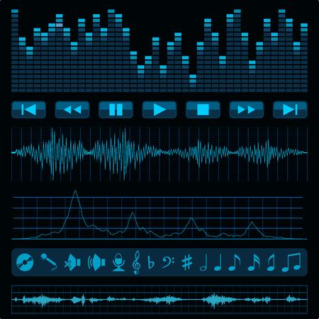 sonido: Notas, botones y ondas de sonido. Fondo de la música. Vectores