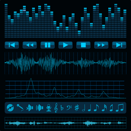 Notes, buttons and sound waves. Music background. Vector