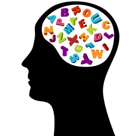 idiomas: Pensamiento de silueta masculina de cabeza