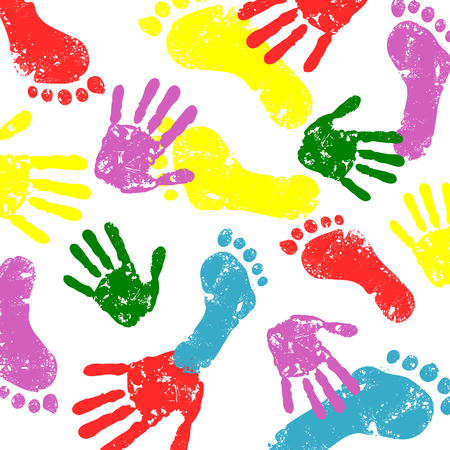 pieds sales: vecteur abstraite imprime pieds et mains arri�re-plan