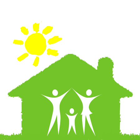house wife: A pictographic image of a green family