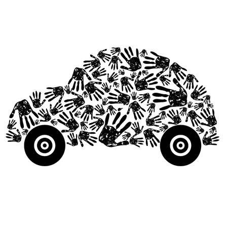 handprint: abstract car made from hands Illustration