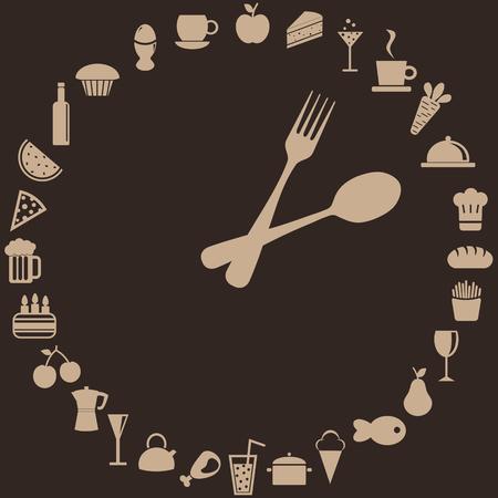 reloj abstracto de cuchara, horquilla y alimentos