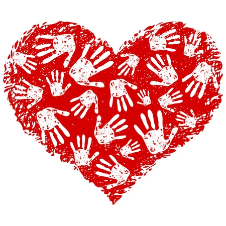 Ilustración de una impresión de corazón con una manos
