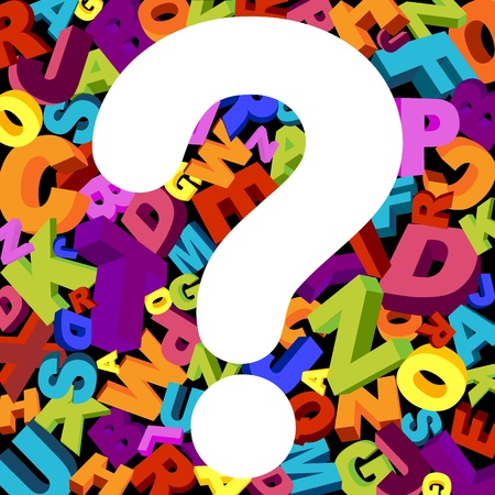 queries: abstract background with letters and question mark